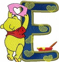 Winnie Pooh letter e free machine embroidery. Machine embroidery design. www.embroideres.com