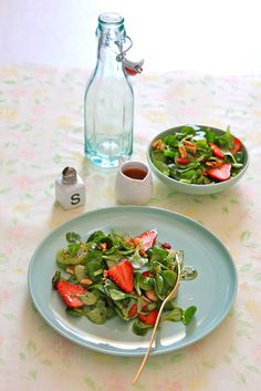 Strawberry Mache Salad with Poppy Seed Vinaigrette and Almond Brittle