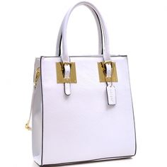 Structured Faux Leather Tote Bag with Gold-Tone Accent white - fashlets.com