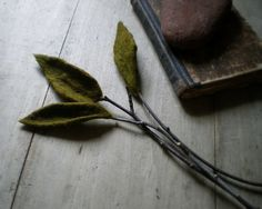 Wet-felted wool leaves and twigs