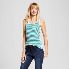 Women's Striped Favorite Tank Windward White/Green Stripe XL - Merona