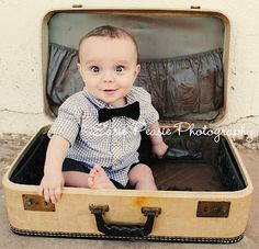 Baby in Old Suitcase. SO cute :)  @Ashley Todd - you need to do this with your little one in the suitcase from your wedding!