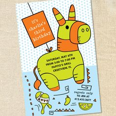 Mexican Fiesta Pinata Invitations for Children's Birthdays and Cinco de Mayo Parties by Sweet Wishes Stationery