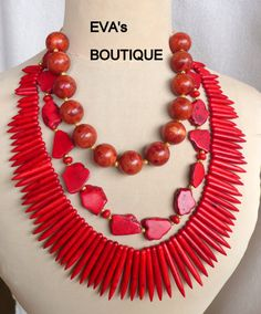 Very large statement bib necklace with red howlite by evarugina, €56.00