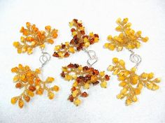 Natural Amber Branch Earrings Yellow Brown Golden by SanaGem