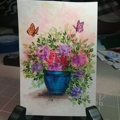 Art Impressions wonderful water color. Handmade watercolor flower floral card. pot, butterflies