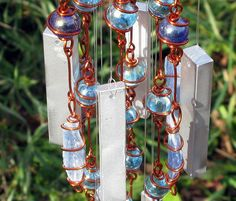 Handmade Blue Kyanite Windchime / Wind Chime with Recycled Aluminum and Copper Wire Wrapped Royal and Sky Blue Glass Marble Prisms, Garden Decor by tapestryarabianfarm on Etsy