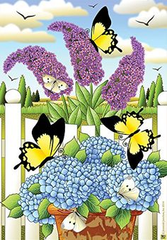 Jeremiah Junction Bloomin' Butterflies Spring House Flag Geraniums Decorative Floral x Butterfly Art, Flower Art, Butterflies, Art Flowers, Lawn And Garden, Home And Garden, Summer Garden, Lilac Bushes, Garden Decor Items