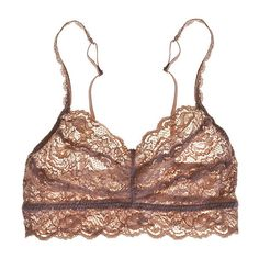 Cosabella Nocciola Lace Sweetie Wireless Bralette ($20) ❤ liked on Polyvore featuring intimates, bras, wireless bras, lacy bra, no underwire bra, lace bralette bra and lace wireless bra