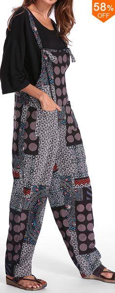 Casual Women Polka Dot Printed Loose Patchwork Pocket Jumpsuit