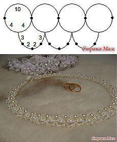 «Нежность»: схема свадебного ожерелья (анкарс, фриволите) - Фриволите - Страна Мам