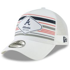 084c3a852280f Men s Atlanta Braves New Era White Coastline A-Frame 9FORTY Trucker Hat
