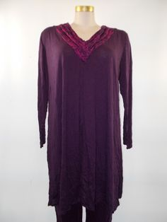 Chalet - Crinkle Grape Burnout V-Neck Carin Dress/Tunic