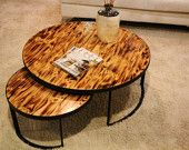 contemporary coffee table.burned wood custom made table available in many colours and all dimensions