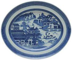 Travessa oval em porcelana Companhia das Índias decorad..