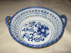 White With Blue Floral Pottery Bowl Open Weave Handles | eBay
