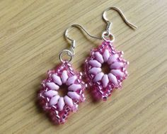 Pink Super Duo Beaded Earrings   with 925 Stamped Hooks
