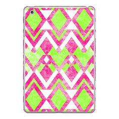 iPhone 6 Plus/6/5/5s/5c Case - Neon Green Pink Triangles Hipster Aztec... (58 AUD) ❤ liked on Polyvore featuring accessories, tech accessories, iphone case, aztec print iphone 4 case, aztec print iphone case, iphone 5 cover case, iphone cases and pink iphone case