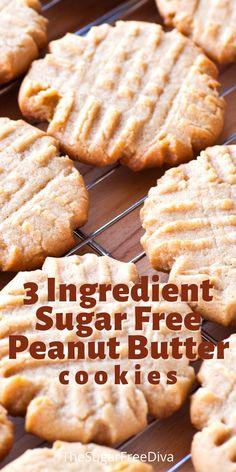 Sugar Free Peanut Butter Cookies, Sugar Free Cookie Recipes, Sugar Free Deserts, Sugar Free Baking, Sugar Free Sweets, Peanut Butter Cookie Recipe, Diabetic Friendly Desserts, Low Carb Desserts, Diabetic Recipes