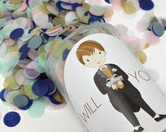 Bridesmaid Proposal Will you be my bridesmaid. Push Pop Confetti, Confetti Poppers, Paper Confetti, Boy Ushers, Usher Gifts, Page Boy, Rose Gold Foil, Will You Be My Bridesmaid, Bridesmaid Proposal