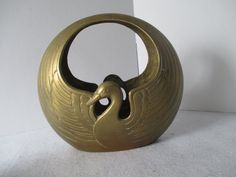 Brass Duck Planter with Handle Vintage Asian Motif by HobbitHouse