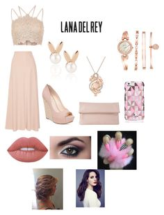"""""""Lana Del Rey"""" by thaliarosegrace ❤ liked on Polyvore featuring The Row, Jessica Simpson, Whistles, River Island, Kate Spade, Aamaya by Priyanka, LE VIAN, Anne Klein and Lime Crime"""