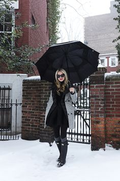 Blair Eadie of Atlantic-Pacific in NYC wearing Hunter Boots, Sorel Boots, a black tutu, Everlane sweater, Spanx and Madewell socks in the snow!