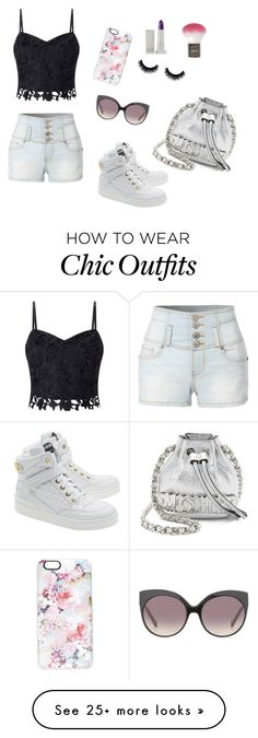 """Girly look ❤️"" by tumblr-draw on Polyvore featuring Lipsy, LE3NO, Casetify, Lipstick Queen, Topshop, Moschino and Linda Farrow"