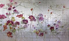 By Claire Basler Vintage Flowers Wallpaper, Butterfly Wallpaper, Art Floral, Mural Painting, Painting Prints, Small Canvas Paintings, Floral Paintings, Gold Leaf Art, Painted Leaves