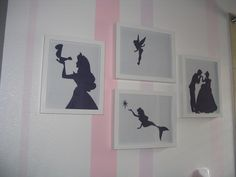 The walls are striped (easily could've used streamers) diy cutout princesses
