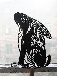 rabbit stencil and cut paper Kirigami, Bunny Art, Arte Popular, Silhouette Art, Stencil Art, Stencil Patterns, Printmaking, Folk Art, Art Projects