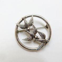Sterling Silver Bird Brooch Three Swallows by VintageVogueTreasure