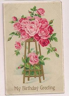 Birthday Greetings Pink Red Roses  Floral Flowers Postcard 1912