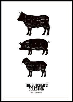Flot poster til køkkenet for kødelskeren.