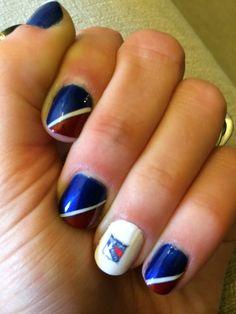 NYR nail art Saints Nails, Hockey Nails, Rangers Hockey, Manicures, You Nailed It, Hair Makeup, Nail Designs, Spirit, Nail Art