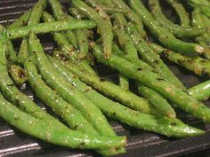 Grilled green bean marinade:  In a ZipLock Bag: Mix Lemon Juice, Olive Oil, Garlic Powder, Salt and Pepper.  Throw in the Green Beans and let marinate for 10 minutes - Toss on the grill for 10 more minutes, sprinkle with a little Parmesan