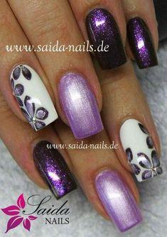 Adorable Purple Nail Art Ideas That Looks Cute 50 Purple Nail Art, Purple Nail Designs, Pretty Nail Designs, Pink Nails, Purple Nails With Design, Purple Ombre Nails, Fingernail Designs, Acrylic Nail Designs, Nail Art Designs