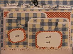 Inside view of the hand made coupon organizer