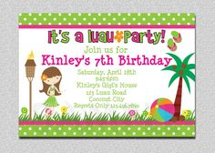 Luau Birthday Invitations Designs If you are talking about unique birthday invitations then the Luau birthday invitations design is maybe one of the examples that you can try to use. Free Printable Birthday Invitations, Birthday Template, Kids Birthday Party Invitations, Birthday Ideas, 7th Birthday, Moana Birthday, Birthday Parties, Birthday Celebration, Birthday Cards