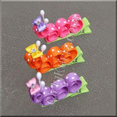 Springy Caterpillar Hair Clips by GirlyKurlz.com ❤