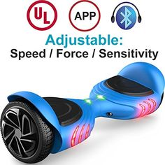 TOMOLOO Hoverboard with Bluetooth Speaker  LED Light and App Black Twowheel Self Balancing Scooter with UL2272 CertifiedBlue *** Details can be found by clicking on the image. (This is an affiliate link) #Scooters