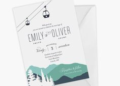 This wedding invitation featuring mountains and gondola will impress your guests and its easy, affordable and fun to make. Well take care of all the personalization, all you have to do is print, cut and send! This listing is for a personalized wedding invitation ***DIGITAL PRINTABLE FILE ONLY (high resolution jpg and pdf file). Please note, no physical item will be shipped.*** Invitation Size: 5 x 7 - Fits into an A7 (5 1/4 x 7 1/4) envelope ORDERING: Upon purchase, please provid...