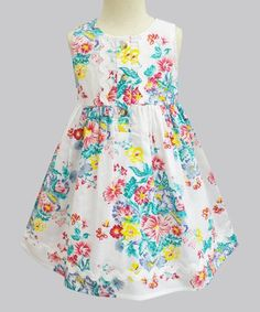 This Mint & Yellow Floral Penelope Dress - Infant, Toddler & Girls is perfect! #zulilyfinds