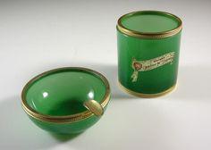 Green Opaline Glass Ashtray & Cigarette Holder // Spill Vase // Vincenzo Nason // from Successionary