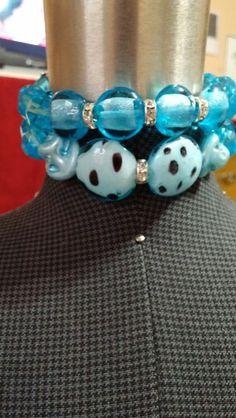 Aqua colored bracelets.