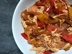 Made with pantry staples and store-bought sauces, Slow Cooker BBQ Chicken with Peppers and Onions is one weeknight dinner you can't pass up. Slow Cooker Bbq, Slow Cooker Recipes, Crockpot Meals, Grilled Bbq Chicken, Easy Family Dinners, Chicken Stuffed Peppers, Veggie Tray, Barbecue Recipes, Peppers And Onions