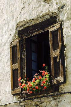 Ventana montaña Window Detail, Window View, Window Shutters, Window Boxes, Old Windows, Windows And Doors, Flower Window, Old Doors, Doorway