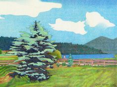 Impression Evergreen: Evergreen Lake Summer - Colored Pencil Drawing