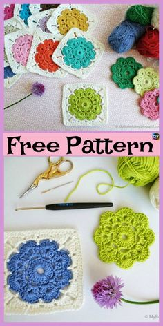 10 Beautiful Crochet Granny Squares - Free Patterns These crochet granny squares are pretty and very simple project to crochet.You could crochet them together and make a very colorful blanket or something Crochet Pillow Patterns Free, Crochet Square Patterns, Crochet Motif, Knitting Patterns, Free Crochet Square, Rug Patterns, Crochet Flower Squares, Crochet Flowers, Crochet Crafts