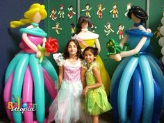 Disney Princess Balloon Sculpture Decorations.    how cool looking are these?!   and their located here in San Diego! :)